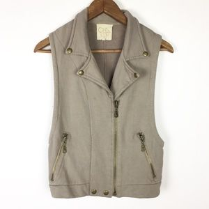 Chaser Taupe Zip Up Soft Hoodie Moto Vest